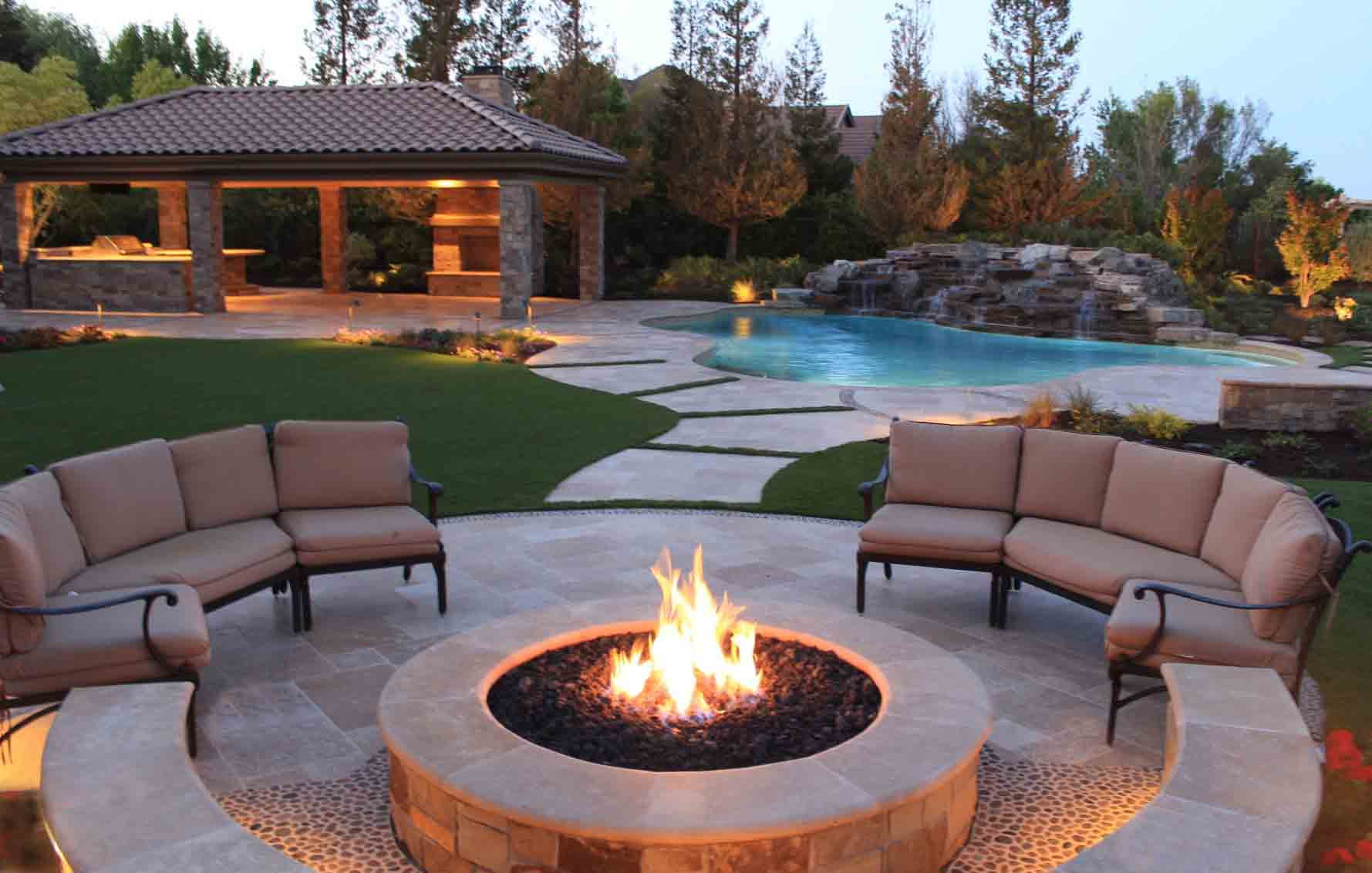 Photo gallery divided into the different parts of the landscape including Overall Design, Plant Design, Pool Design, Pool Remodels, Outdoor Fireplaces & Kitchens, Before & Afters, & Details.