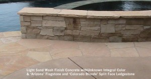 Light-Sand-Wash-Finish-Concrete-withUnknown-Integral-Color-Arizona-Flagstone-and-Colorado-Blonde-Split-Face-Ledgestone