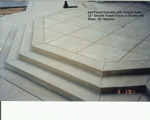 "Salt Finish Concrete with Integral Color 12"" Smooth Trowel Finish on Border and  Steps. 36"" Squares"