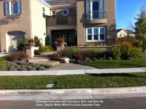 Stamped-Concrete-with-Seamless-Skin-and-Dust-On-Color-Stucco-Walls-With-Pre-Cast-Concrete-Caps