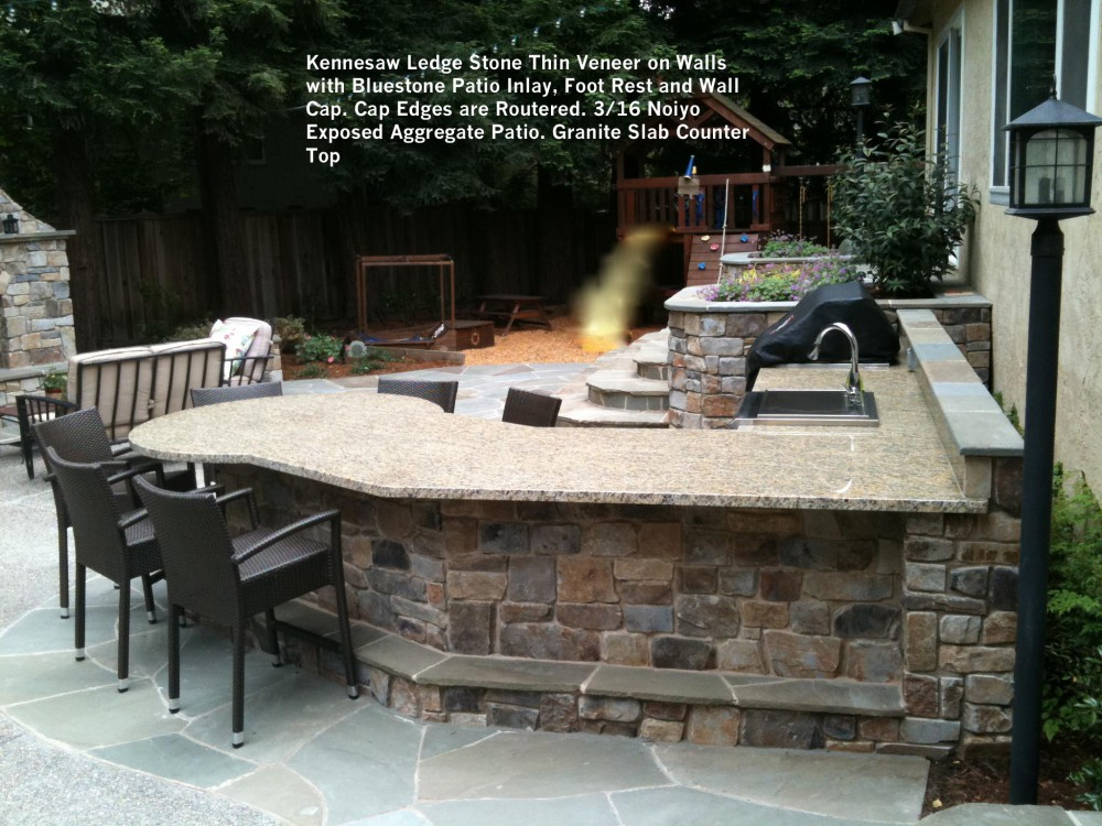 Kennesaw Ledge Stone Thin Veneer On Walls With Bluestone Patio Inlay, Foot  Rest And Wall Cap. Cap Edges Are Routered. 3_16 Noiyo Exposed Aggregate  Patio.