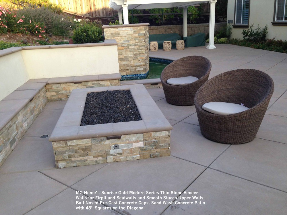 Lovely MG Home Sunrise Gold Modern Series Thin Stone Veneer Walls For Firpit And Seatwalls And  Smooth Stucco Squares On The Diagonal ...