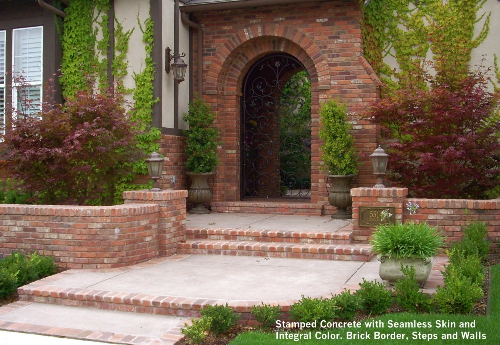 Stamped Concrete With Seamless Skin And Integral Color Brick Border Steps Walls