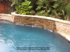 Golden Canadien Ledge Stone Thin Veneer Pool Wall with 10% 'Frontier' Flat Stones on Pool Weeping Wall,