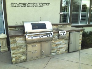"""MG Home' - Sunrise Gold Modern Series Thin Stone Veneer Walls for Kitchen_ BBQ. Concrete Counter Top. Sand Wash  Concrete Patio with 48"""" Squares on the Diagonal"""