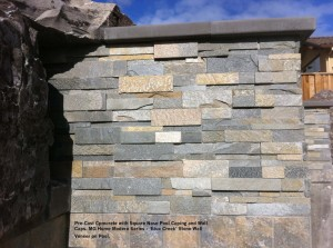Pre-Cast-Cpmcrete-with-Square-Nose-Pool-Coping-and-Wall-Caps.-MG-Home-Modern-Series-Blue-Creek-Stone-Wall-Veneer-on-Pool