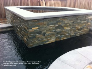 PreCast-Cpmcrete-with-Square-Nose-Pond-Coping-and-Wall-Caps.-MG-Home-Modern-Series-Blue-Creek-Stone-Wall-Veneer-on-Koi-Pond
